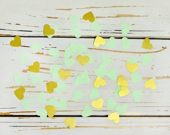 heart confetti light green and gold