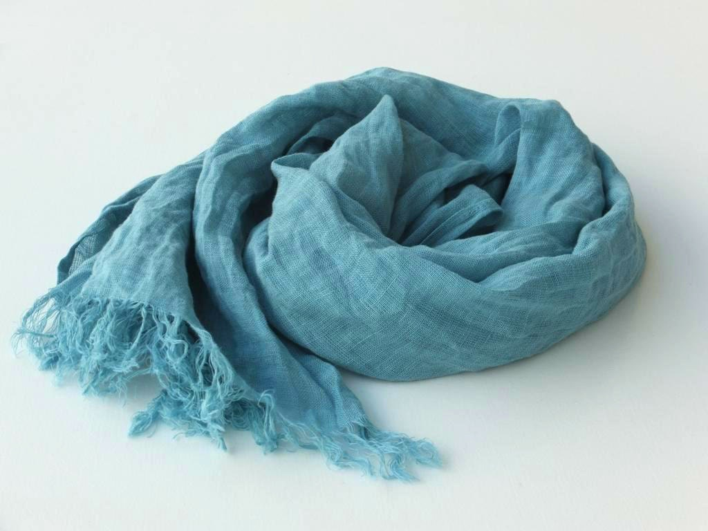 Teal Linen Scarf Blue Green Wrap Shawl Scarf Long By