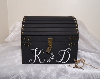 Personalized Lockable Wedding Card Chest w/ Card Slot, Keepsake Chest, Shabby Chic Wedding Card Box, Rustic Wooden Chest Wedding Card Box