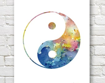 Yin Yang - Art Print - Abstract Watercolor Painting - Wall Decor