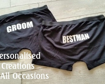 Personalised Groom Wedding Underwear - Groomsman - Bestman - Father Of The Groom - Father Of The Bride Gift - SET OF 2