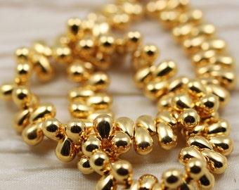50pcs 6x4mm 24Kt Gold Plated  Tear Drops Czech Glass Beads, real gold beads, 24K gold beads