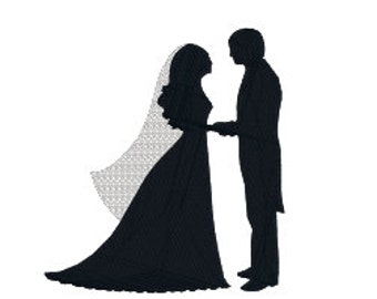 BUY 2, GET 1 FREE Wedding Machine Embroidery Design Bride and Groom in 3 Sizes