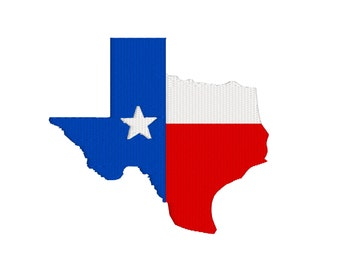 BUY 2, GET 1 FREE - Texas Shape Flag Machine Embroidery Design - Filled in 3 Sizes including Mini Texas - 2.27 x 2, 3.34 x 3, 4.5 x 4