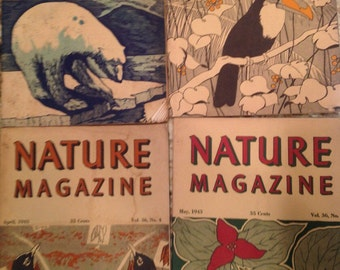 6 for 36 Vintage 1943 Nature Magazine January, February, April, May, November, December