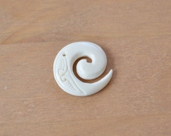 Hand Carved Ox Bone Pendant ~ Ivory Colour