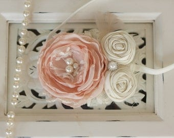 Flower girl headband, Blush pink and ivory vintage inspired ivory lace