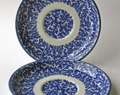 Two Woolworth Fibre Saucers/ Salad/ Starter Plates early 20th century blue and white tableware, England,