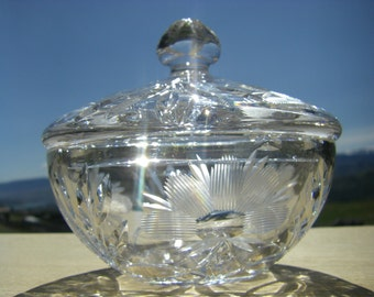 Etched Crystal Candy Dish with Lid