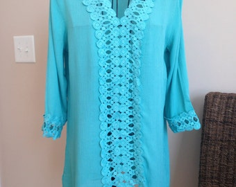 Turquoise Beach Cover-Up, Beach Dress, Swimsuit Cover-Up