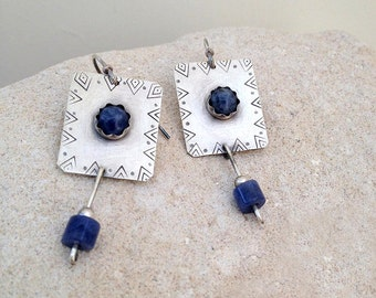 Sodalite Earrings, Blue earrings, Sterling silver handcrafted,  Dangle  Earrings, Native American style, handmade jewelry