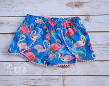 Kids Flamingo Coachella Shorts, Girls Shorts with flamingos, Shorts with pom poms, Festival shorts, Available Sizes: 6 months-12 girls