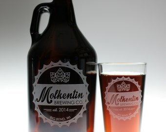 Dad Gift,Fathers Day,Gifts for Him,Customized HomeBrew Growler and 2 Glass set with Bottlecap Logo.Beer Gift,Beer Glass,Man Gift,Engraved