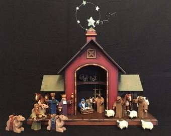 Hand Carved Wooden Nativity Creche