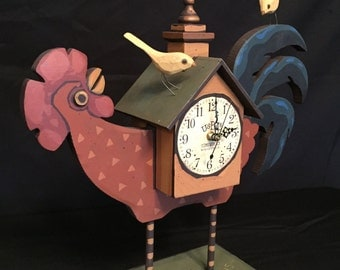 Wooden Rooster Clock