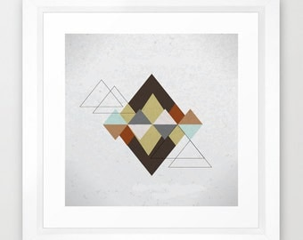 Geometric Art | Geometric Print | Fine Art Giclee Print | Geometrical Mountains | Geometric Wall Art