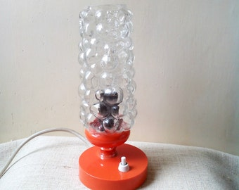 Mid century orange Table Lamp bubble Glass Shade, Bedside lamp, Atomic space age desk lamp 60's