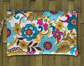 Clutch, Wristlet, Clutch Purse, Evening Bag, Bridesmaid Clutch, Zippered Bag in Summer Solstice Flowers - Made in Maui