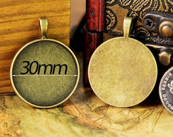 30mm Round Pendant Tray, Bezel Setting, 30mm  Cabochon Tray - Antique Bronze,Antique Silver,Silver Plated