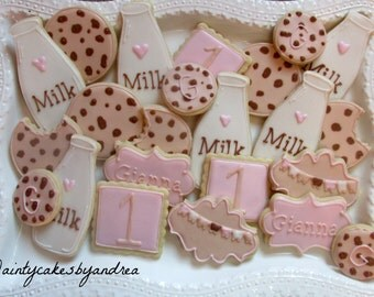 1 dozen Milk and Cookies themed decorated sugar cookies!