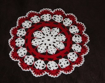 New Hand Crocheted Doily - red and white