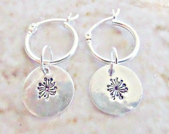 Silver dandelion earrings, Dandelion earrings, Silver hoop earrings, Fine silver discs, Dangle charm earrings, Stamped dandelion, UK seller