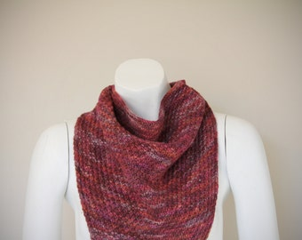 Handmade Knitted Maroon Soft Merino Wool Triangle Shawl