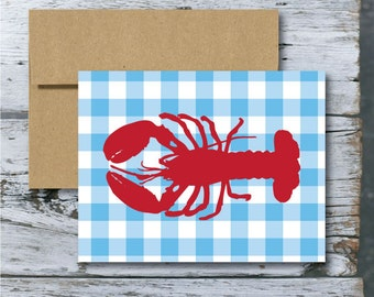 Gingham Lobster - red white and blue- (blank inside) : single card