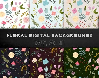 floral digital paper, floral backgrounds, flowers digital paper, hand drawn doodles