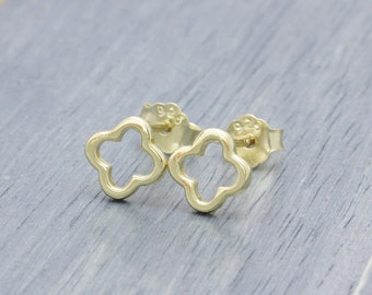 925 vermeil stering silver shiny flower stud earrings , clover earrings (E_00046)