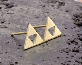 925 vermeil gold triple triagle stud earrings (R_00058)