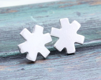 925 stering silver lovely snow flake stud earrings , flower earrings (E_00040)