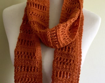 Hand knit lace long wool scarf, orange long scarf, wool long scarf, one of a kind scarf, ready to ship.