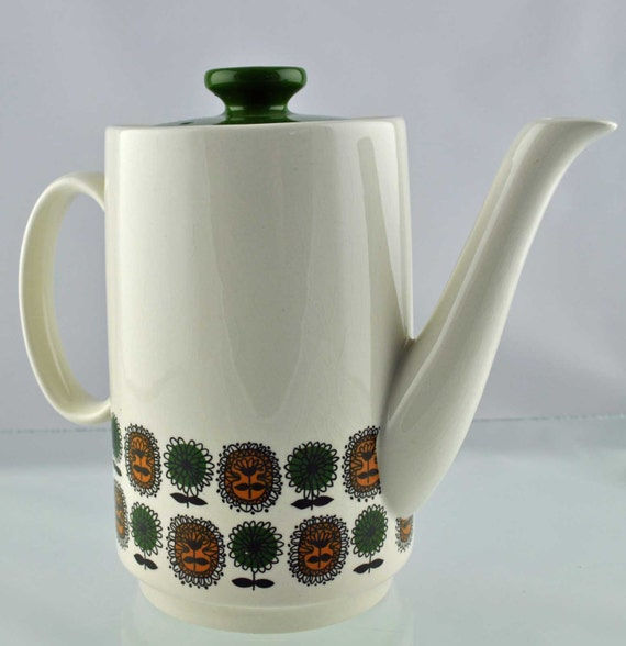 Original Vintage Mid Century 1960s Coffee Pot By Biltons Staffordshire With Green Lid