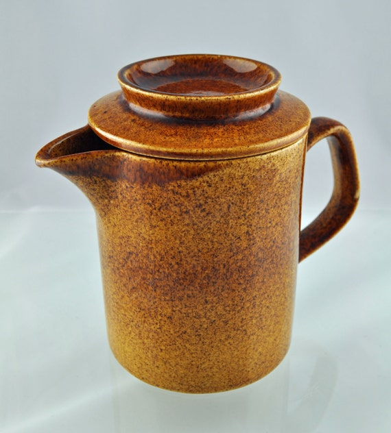 Vintage Mid Century 1970s Wattisfield Ware Suffolk Mottled Brown Teapot