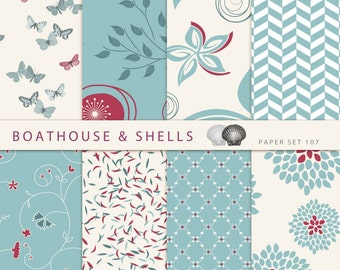 """8 TURQUOIS and RED Digital Papers, Digital Scrapbook Paper Pack (12"""" x 12"""", 300 dpi, RGB, jpg) -- Instant Download -- Printable -- Set 107"""