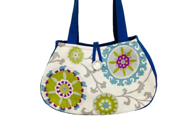 Green print handbag,Blue print tote, Purple flower tote,Purple shoulder bag, Floral print handbag,Blue floral handbag,Green floral tote