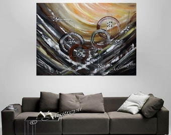"""Art Painting, 50"""" - Large Abstract painting, original oil painting on canvas, unique art, Living room special colors By Maitreyii"""