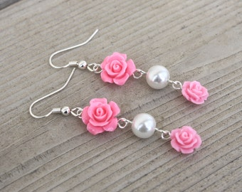 A Rose for Emily Earrings - Pink Acrylic Rose and Glass Pearl Dangle Earrings