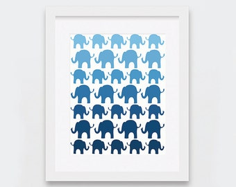Navy Elephants Digital Print, Elephants Nursery Decor, Gender Neutral Baby Shower Gift, Navy Blue Ombre Nursery Art Printable