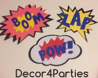 Classic vintage Superhero party decoration signs