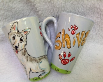 Hand Painted Ceramic Coffee Mug - Husky