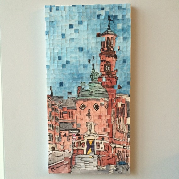 "Harvard University- Harvard Lampoon Architectural Art: 10""x20"" Original Painting"