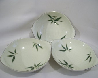 4 Willow Nunome Bamboo Bowls, Japan