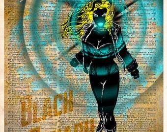 Black Canary - pop art print  - Retro Super Hero Art - Dictionary print art