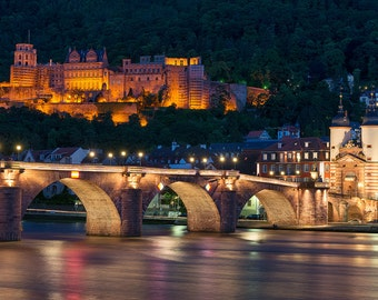 Heidelberg Castle, Palace, Germany, The Old Bridge, Neckar River, Heidelberger Schloss - Travel Photography, Print, Wall Art