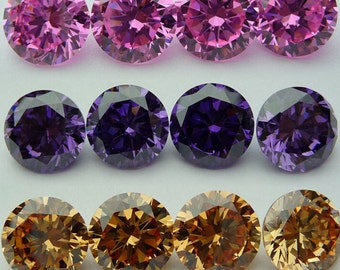 6mm Round Cubic Zirconia Faceted Gem Stones AAAAA Quality X 8 Pieces