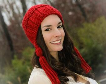 Loom Knit Earflap Hat With Tassels Pattern. Loom Knitting PDF PATTERN! Adult/Teen Hat Pattern.
