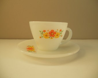 Fire King Cosmos Tea Cup and Saucer