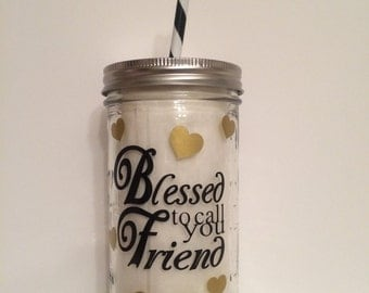 Best Friend Mason Jar Cup, Best Friend Tumbler, Friends Forever Mason Jar Tumbler, Friend Gift, Bridesmaid Gift, Best Friend Birthday